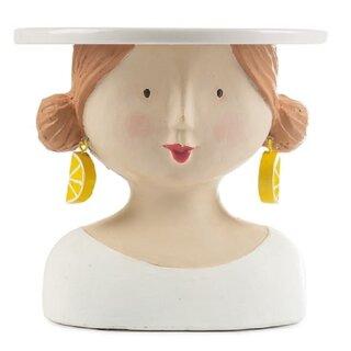 Ladykopf Dame mit Zitronenohrringen als Kuchenplatte