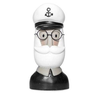 Herrenkopf kleiner Deko-Kopf Schiffskapitän mit weißem Bart