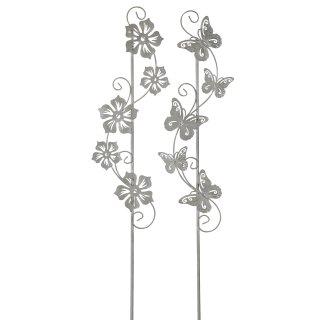 dekorativer Gartenstecker Blumenranke und Schmetterlingstanz Metall hellgrau