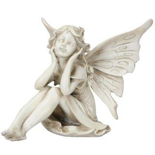 dekorative ausgefallene Deko-Figur Elfe sitzend Polystone antikgrau
