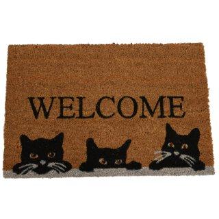 rutschfeste Fussmatte Kokosmatte Trittmatte Motiv Welcome mit 3 Katzenköpfen