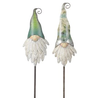 dekorativer nostalgischer Gartenstecker Silhouette Wichtelkopf Metall bemalt 2 Modelle zur Auswahl