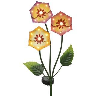 ausgefallener dekorativer solarbetriebener LED Gartenstecker Blütenstiel mit 21 LED´s warmweiß