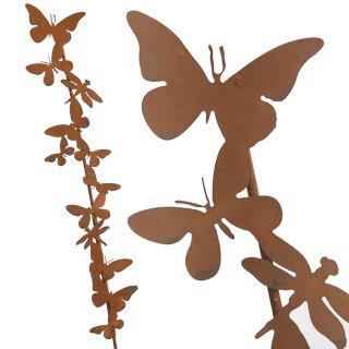 dekorativer Garten-Stecker Deko-Stecker mit Schmetterlingen und Libellen Metall rostig