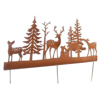 dekorativer großer Deko-Stecker Beet-Stecker Waldszene mit Hirschen Metall edelrost