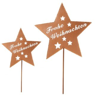 """weihnachtlicher Garten-Stecker Stern """"Frohe Weihnachten"""" Metall rostfarben mit etwas Goldglitzer im 2-er Set"""