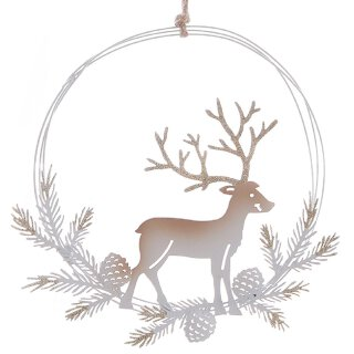 dekorativer weihnachtlicher Fensterhänger Dekokranz Türkranz Rentier im Tannenkranz Metall weiß-beige mit Godglitzer