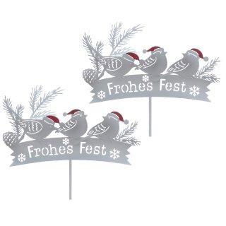 winterlicher stimmungsvoller Garten-Stecker Deko-Stecker Frohes Fest mit 3 Vögeln Metall Preis für 2 Stück