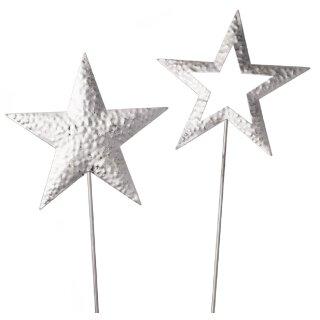 weihnachtlicher stimmungsvoller Deko-Stecker Garten-Stecker Stern Metall silber matt-glänzend gehämmert Preis für 2 Stück