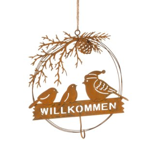 dekorativer Meisenknödelhalter Vogelfamilie im Ring mit Schriftzug WILLKOMMEN Metall rostfarben