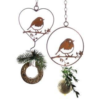 dekorativer Meisenknödelhalter Vogel auf Ast in Herz und Kreisform 2 Motive im Set Preis für 2 Stück