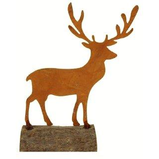 kleines weihnachtliches Dekoarrangement Hirsch auf Baumstamm Metall edelrostig