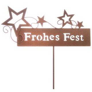 """dekorativer stimmungsvoller Garten-Stecker Deko-Stecker """"Frohes Fest"""" mit Sternen Metall Rostoptik"""