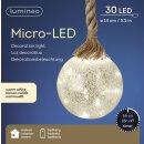 dekorative LED Leuchte als Glaskugel am dicken Sisal-Tau batteriebetrieben