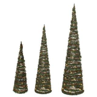 dekorative LED-Leuchtpyramide Weidengeflecht mit Kunsttanne und Goldglitzer für innen