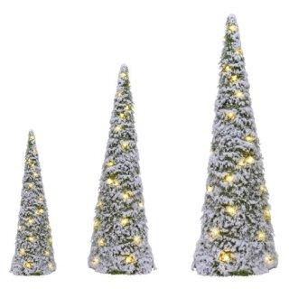 dekorative LED- Leuchtpyramide aus Kunsttanne beschneit inklusive Timerfunktion nur für innen