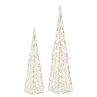 dekorative LED-Leuchtpyramide Acrylgeflecht klar transparent LED´s warmweiß für innen und außen