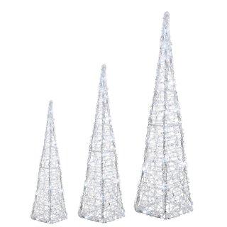 dekorative LED-Leuchtpyramide Acrylgeflecht klar transparent LED´s kaltweiß mit Blinkfunktion für innen und außen