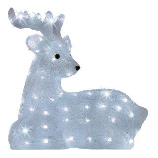 große dekorative LED Leuchte als liegendes Rentier oder Hirsch LED´s kaltweiß  für innen und außen