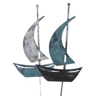 dekorativer maritimer Garten-Stecker Deko-Stecker Segelboot Metall bemalt Antik Style im 2-er Set