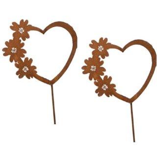 ausgefallener dekorativer Gartenstecker Herz mit Blumenranke Metall rostig im 2-er Set