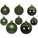 26er Set Kugelmix PVC piniengrün Weihnachtskugeln Baumschmuck bruchfest Christbaumschmuck