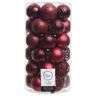 37er Set Kugelmix PVC ochsenblutrot Weihnachtskugeln Baumschmuck bruchfest Christbaumschmuck