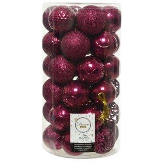 37er Set Kugelmix PVC magnolienrosa Weihnachtskugeln Baumschmuck bruchfest Christbaumschmuck