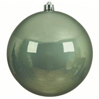 große dekorative winterliche bruchfeste Weihnachtskugel salbeigrün glänzend 14 cm