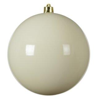 große dekorative winterliche bruchfeste Weihnachtskugel wollweiss glänzend 14 cm
