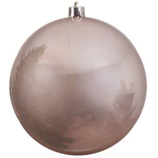 große dekorative winterliche bruchfeste Weihnachtskugel puderrosa glänzend 14 cm