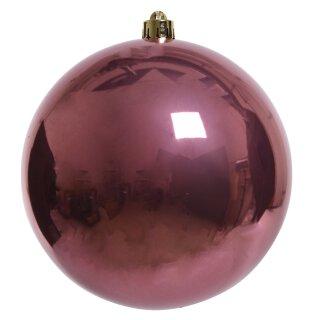 große dekorative winterliche bruchfeste Weihnachtskugel samtpink glänzend 14 cm
