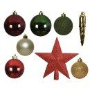33er Set Kugelmix PVC mit Sternspitze rot grün perle...