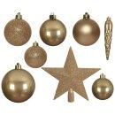 33er Set Kugelmix PVC mit Sternspitze warmgold Weihnachtskugeln Baumschmuck bruchfest Christbaumschmuck