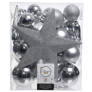 33er Set Kugelmix PVC mit Sternspitze silber Weihnachtskugeln Baumschmuck bruchfest Christbaumschmuck