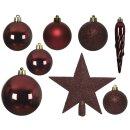 33er Set Kugelmix PVC mit Sternspitze ochsenblutrot Weihnachtskugeln Baumschmuck bruchfest Christbaumschmuck