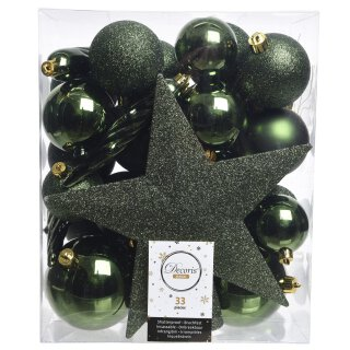 33er Set Kugelmix PVC mit Sternspitze piniengrün Weihnachtskugeln Baumschmuck bruchfest Christbaumschmuck