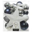 33er Set Kugelmix PVC mit Sternspitze blau silber weiß Weihnachtskugeln Baumschmuck bruchfest Christbaumschmuck