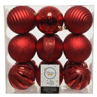 18er Set Kugelmix PVC weihnachtsrot Weihnachtskugeln Baumschmuck bruchfest Christbaumschmuck