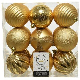 18er Set Kugelmix PVC gold Weihnachtskugeln Baumschmuck bruchfest Christbaumschmuck