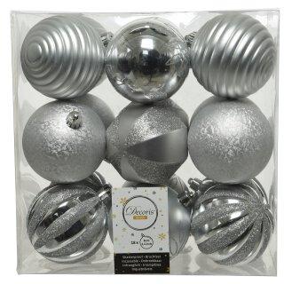 18er Set Kugelmix PVC silber Weihnachtskugeln Baumschmuck bruchfest Christbaumschmuck