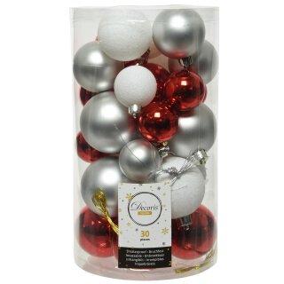 30er Set Kugelmix PVC rot/weiß/silber Weihnachtskugeln Baumschmuck bruchfest Christbaumschmuck