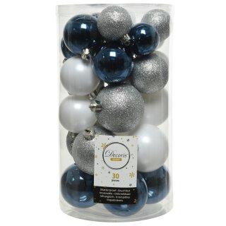 30er Set Kugelmix PVC blau/weiß/silber Weihnachtskugeln Baumschmuck bruchfest Christbaumschmuck
