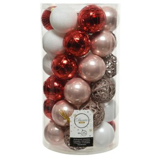 37er Set Kugelmix PVC puderrosa/rot/weiß Weihnachtskugeln Baumschmuck bruchfest Christbaumschmuck