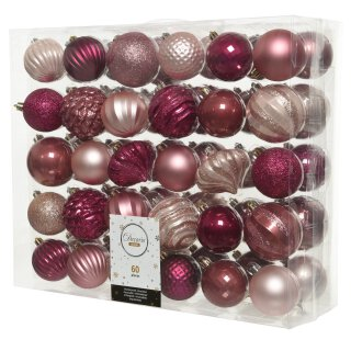 60-er Set Kugelmix PVC puderrosa/samtpink/magnolienrosa Weihnachtskugeln Baumschmuck bruchfest Christbaumschmuck