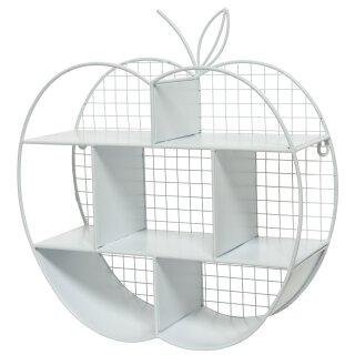 dekoratives ausgefallenes Wandregal Dekoregal in Form eines Apfels Metall weiß