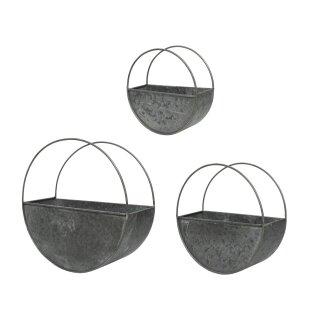 dekoratives rundes Wandregal Dekoregal Wandkorb Metall antikgrau im modernen Landhaus-Stil