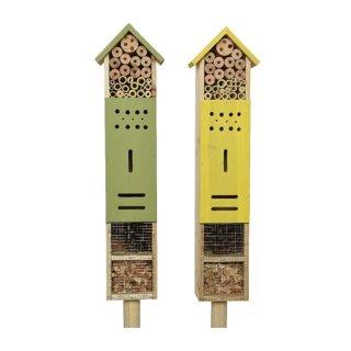 Insektenhotel Insektenhaus aus naturbelassenem Fichtenholz komplett fertig befüllt und montiert als Beetstecker