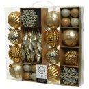 50-er Set Kugelmix PVC gold/champagner Weihnachtskugeln Baumschmuck bruchfest Christbaumschmuck