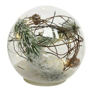 dekorative LED Leuchte als Glaskugel zum stellen mit Zweigen Tanne und Schnee batteriebetrieben